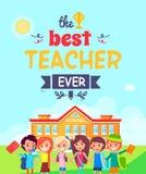 Migliore illustrazione di Ever Postcard Vector dell'insegnante Immagine Stock