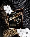 Migliore insegna del partito di estate con oro e foglie di palma nere, fiori monocromatici e struttura dell'oro illustrazione vettoriale