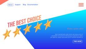Migliore insegna di scelta con cinque stelle dorate nella fila illustrazione di stock