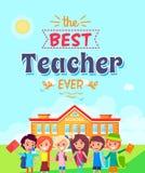 Migliore insegnante Ever Vector Illustration sul blu Fotografia Stock