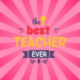 Migliore insegnante Ever Vector Illustration sul rosa Fotografia Stock Libera da Diritti
