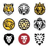 Migliore insieme di vettore di logo della testa del leone Illustrazione di Stock