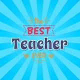 Migliore iscrizione di Ever Vector Illustration dell'insegnante Fotografia Stock