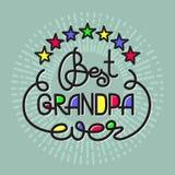 Migliore iscrizione mai scritta a mano del nonno Emblema di giorno dei nonni Fotografia Stock
