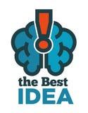 Migliore logotype di idea con il cervello ed il punto esclamativo di himan Fotografia Stock
