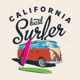 Migliore manifesto del surfista di California Immagine Stock