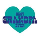 Migliore nonno mai su cuore blu Fotografia Stock