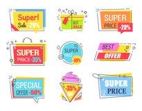 Migliore offerta con gli emblemi promozionali di sconto enorme illustrazione di stock