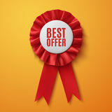 Migliore offerta, nastro rosso realistico del premio del tessuto Immagine Stock