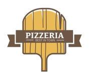 Migliore pizzeria nel logotype promozionale della città con il bordo di legno Fotografie Stock