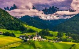 Migliore posto alpino famoso del mondo, Santa Maddalena St Magda Fotografia Stock Libera da Diritti