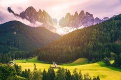 Migliore posto alpino famoso del mondo, Santa Maddalena St Magda Fotografie Stock