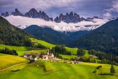 Migliore posto alpino famoso del mondo, Santa Maddalena St Magda Immagine Stock Libera da Diritti