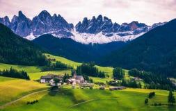 Migliore posto alpino famoso del mondo, Santa Maddalena (st Magda Immagini Stock