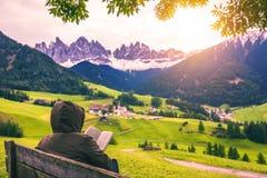 Migliore posto alpino famoso del mondo, Santa Maddalena (st Magda Fotografia Stock