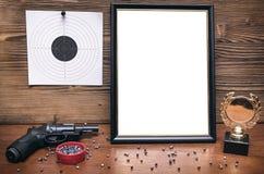 Migliore premio del tiratore Certificato del tiratore Diploma del premio del tiratore fotografia stock