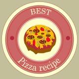 Migliore ricetta della torta di pizza dell'autoadesivo Fotografia Stock