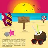 Migliore spiaggia di estate di tramonto Illustrazione di Stock