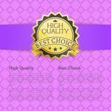 Migliore testo Choice dell'etichetta dell'oro approvato alta qualità Immagine Stock Libera da Diritti