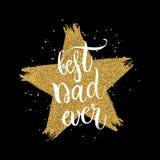 Migliore testo del papà mai in stella di scintillio dell'oro di forma su fondo nero Fotografia Stock