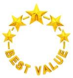 Migliore valore della stella dorata cinque Fotografie Stock