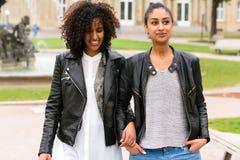 Migliori amici di etnia africana del nord in parco Immagini Stock