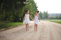 Migliori amici felici che giocano nel parco di estate fotografie stock libere da diritti