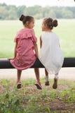 Migliori amici felici che giocano nel parco di estate immagini stock libere da diritti