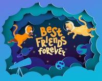 Migliori amici per sempre Cartolina d'auguri nello stile del taglio della carta illustrazione vettoriale