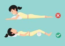 Migliori e posizioni peggiori per dormire illustrazione vettoriale