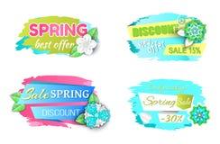 Migliori etichette di promo di offerta della primavera, migliore vettore di prezzi illustrazione di stock