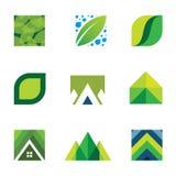Migliori icone di vita di vita della costruzione stabilita creativa verde di logo Immagini Stock Libere da Diritti