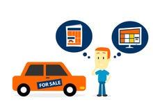 Migliori la vendita un'automobile sugli annunci di giornale o sugli annunci del sito Web? Immagine Stock