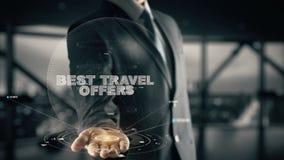 Migliori offerte di viaggio con il concetto dell'uomo d'affari dell'ologramma Fotografia Stock Libera da Diritti