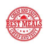 Migliori pasti, a buon mercato ed alimento saporito - distintivo/bollo illustrazione vettoriale