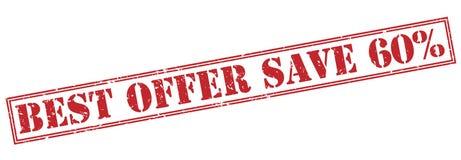 Migliori risparmi di offerta un bollo di 60 per cento su fondo bianco Immagine Stock Libera da Diritti
