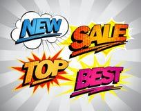 Migliori simboli di vendita nello stile di Pop art. illustrazione vettoriale
