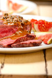 Mignon de faixa verde da carne do grão de pimenta Foto de Stock