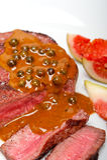 Mignon de faixa verde da carne do grão de pimenta Fotografia de Stock Royalty Free