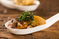 Mignon del cerdo con canjiquinha cremoso y vinagreta en una cuchara Fotos de archivo