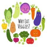 Mignon mangez des Veggies pour encadrer le fond avec les personnages de dessin animé de sourire des légumes illustration stock