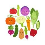 Mignon mangez le fond de Veggies avec les personnages de dessin anim? de sourire des l?gumes illustration stock