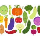 Mignon mangez le fond de Veggies avec les personnages de dessin anim? de sourire des l?gumes illustration de vecteur