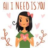 Mignon romantique tout que j'ai besoin est vous carte postale illustration stock