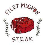 Mignon stku wołowiny cięcie z literowaniem w s ziele Tymiankowej ramie Mięsny przewdonik dla masarka steakhouse lub sklepu menu R ilustracja wektor