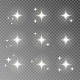 Migotania błyskotania wektor odizolowywający na przejrzystym tle Błyskowy lekki kamera skutek Świecenie obiektywu col ilustracji