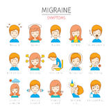 Migräne-Symptom-Ikonen eingestellt Lizenzfreies Stockbild