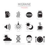 Migräne-Triggerikonen eingestellt, einfarbig Lizenzfreie Stockfotos