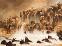 Migración de los ñus en el Masai Mara, pintura de acrílico Fotos de archivo libres de regalías