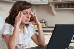 Migraine business person working Stock Image